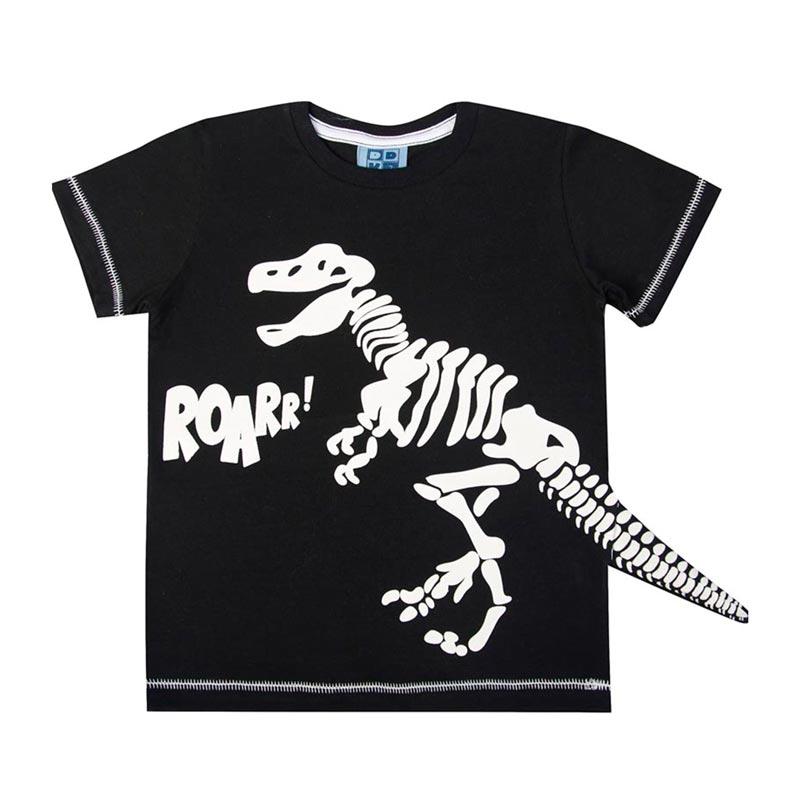 Camiseta DDK Infantil Menino Dinossauro Preto