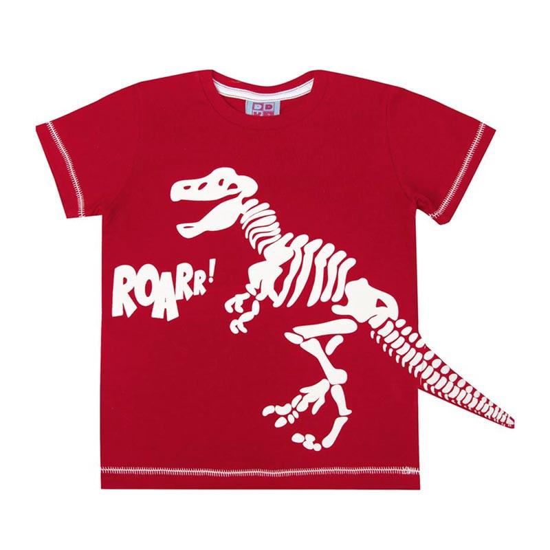 Camiseta DDK Infantil Menino Dinossauro Vermelho