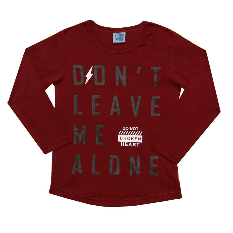 Camiseta DDK Infantil Menino Don't Leave Me Alone Bordô