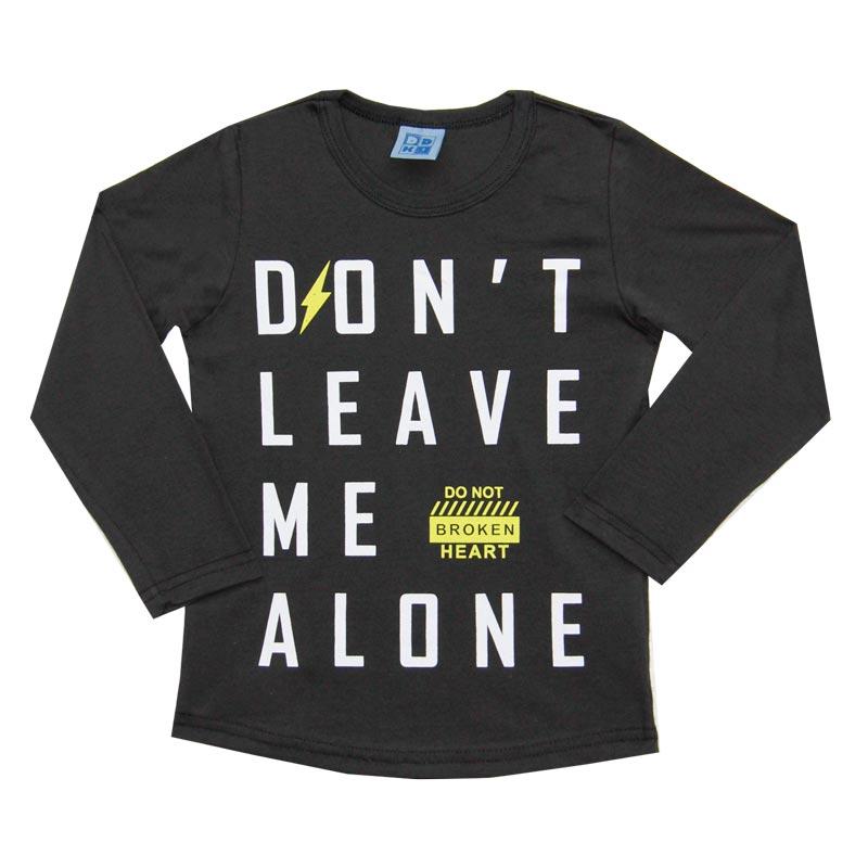 Camiseta DDK Infantil Menino Don't Leave Me Alone Marrom