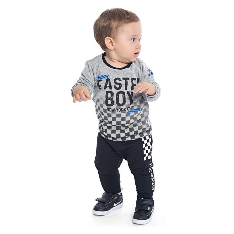 Camiseta DDK Infantil Menino Faster Boy Cinza