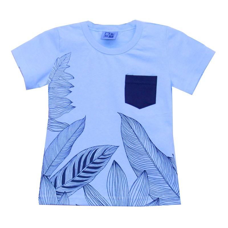Camiseta DDK Infantil Menino Folhas Azul