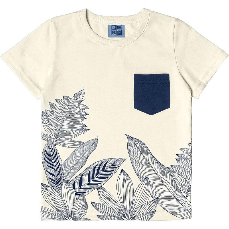 Camiseta DDK Infantil Menino Folhas Bege