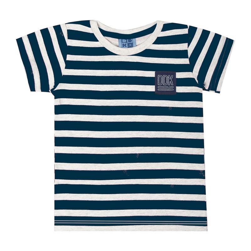 Camiseta DDK Infantil Menino Listrado Branco