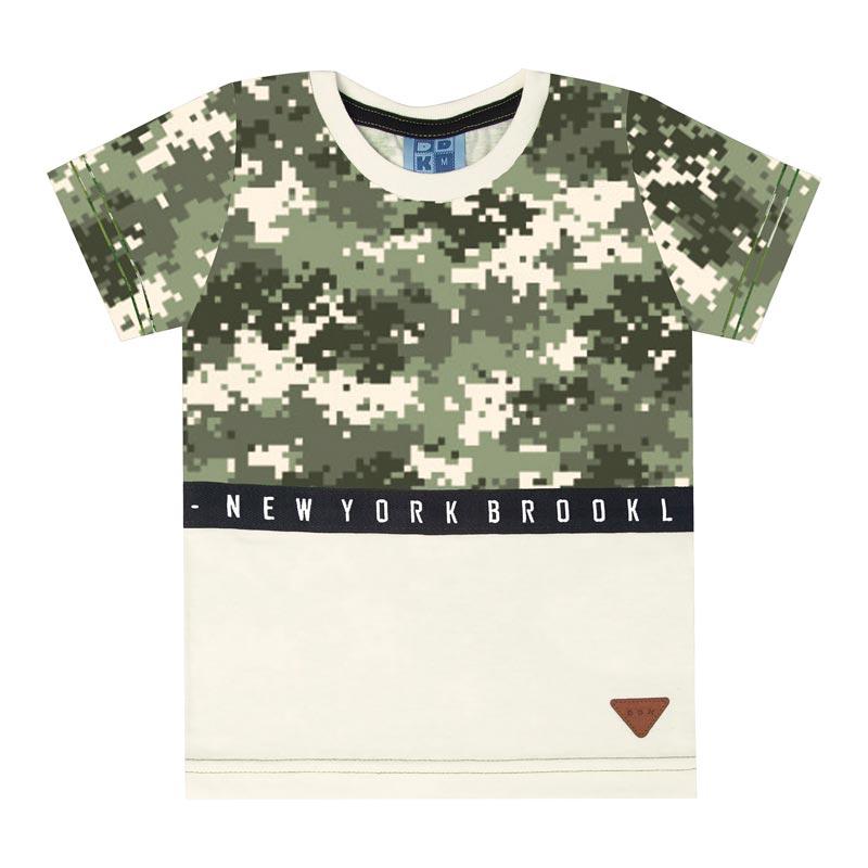 Camiseta DDK Infantil Menino New York Bege
