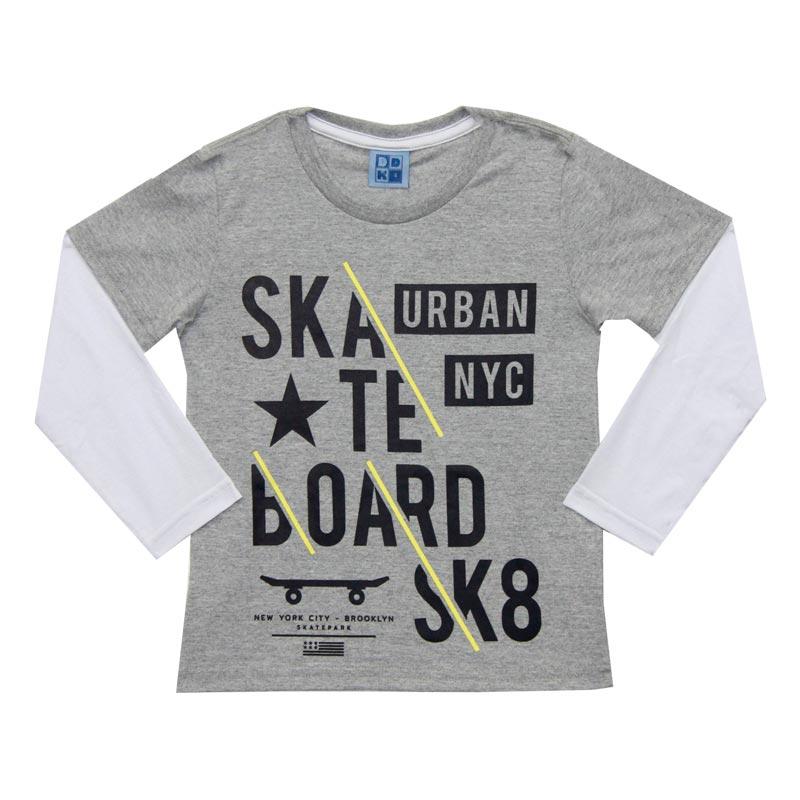 Camiseta DDK Infantil Menino Skate Cinza