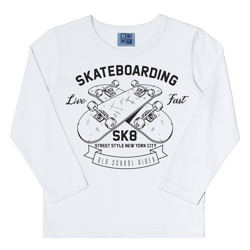 Camiseta DDK Infantil Menino Skatebording Branco