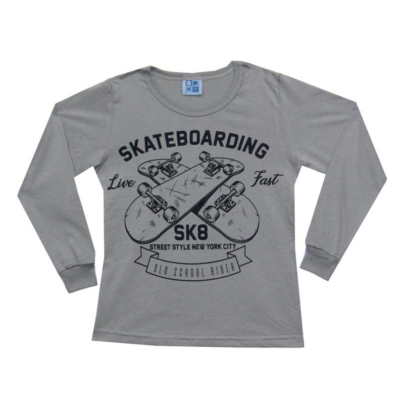 Camiseta DDK Infantil Menino Skatebording Cinza
