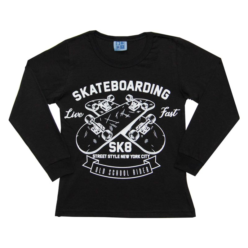 Camiseta DDK Infantil Menino Skatebording Preto