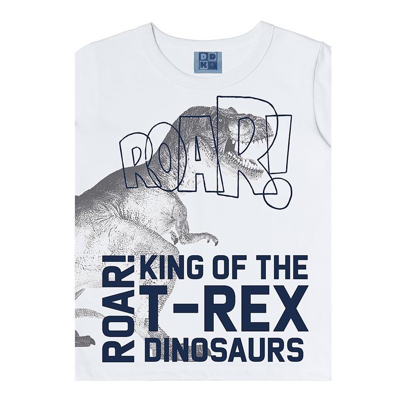 Camiseta DDK Infantil Menino T-Rex Branco
