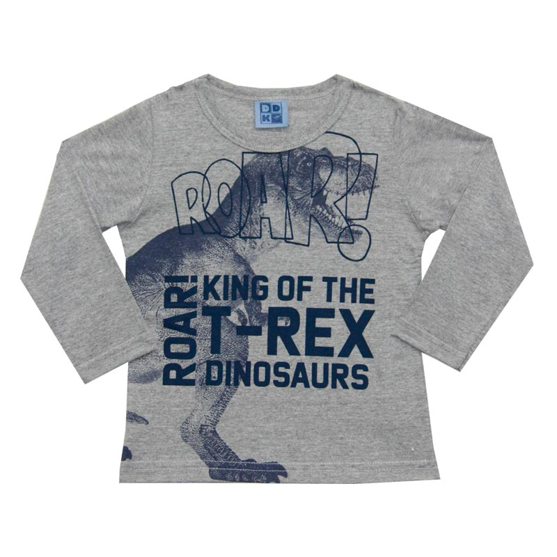 Camiseta DDK Infantil Menino T-Rex Cinza