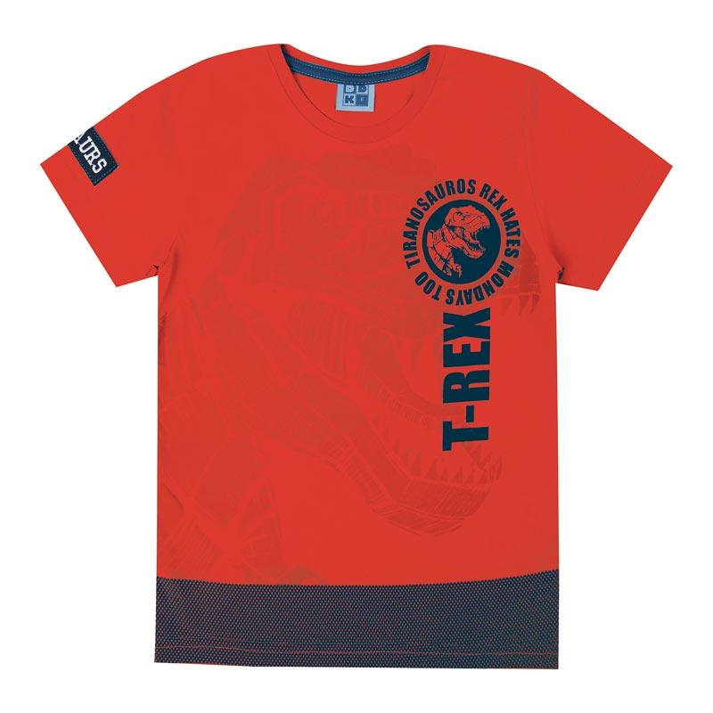 Camiseta DDK Infantil Menino T- Rex Laranja