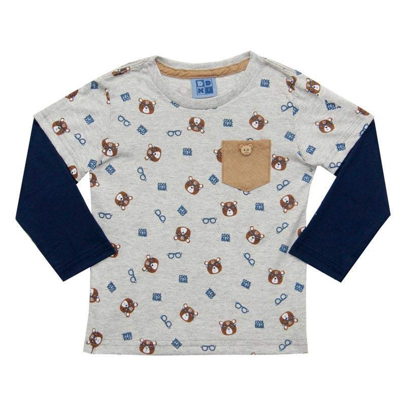 Camiseta Menino bolsinho Urso - DDK