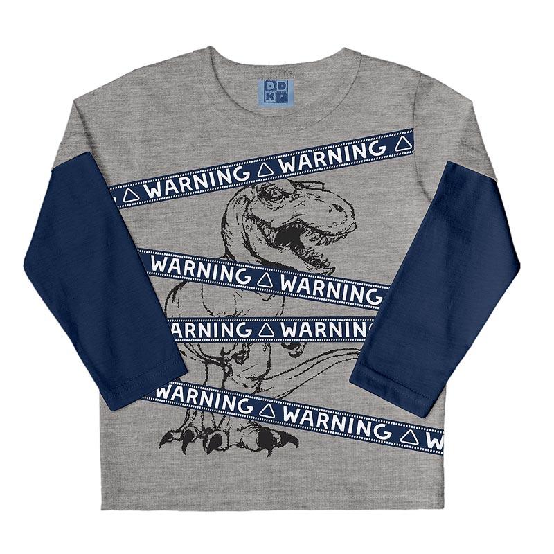Camiseta DDK Infantil Menino Warning Cinza