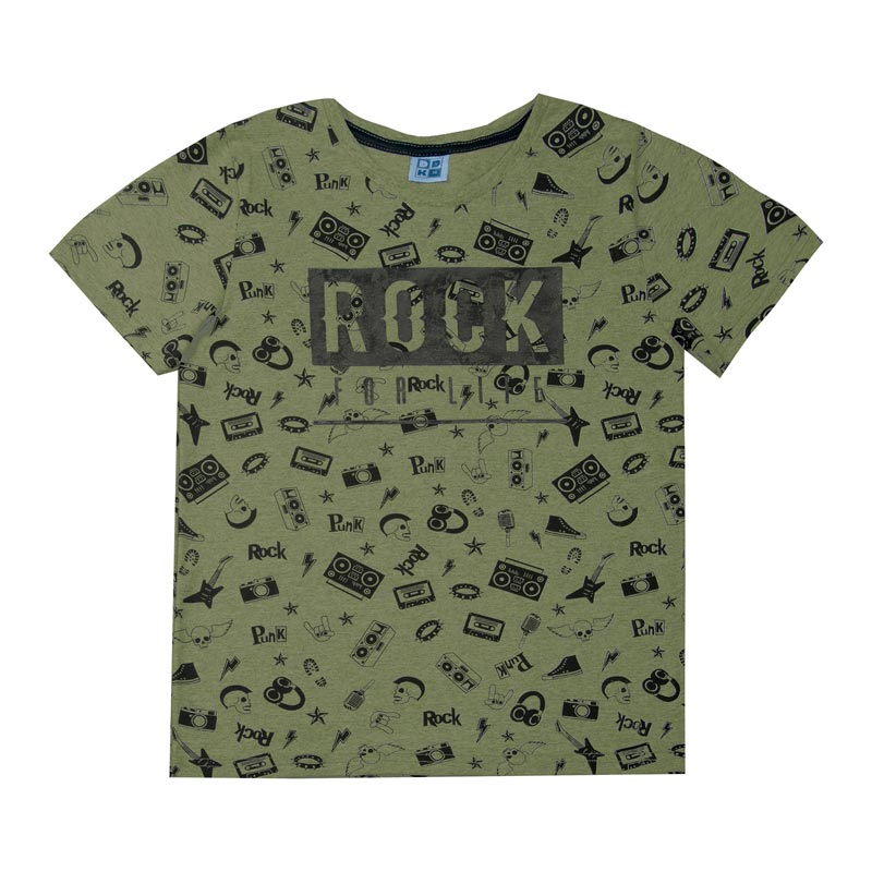 Camiseta DDK Juvenil Menino Rock Verde