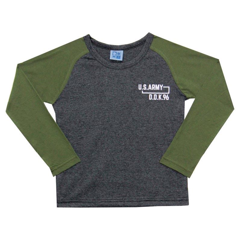 Camiseta DDK Juvenil Menino US Army Cinza