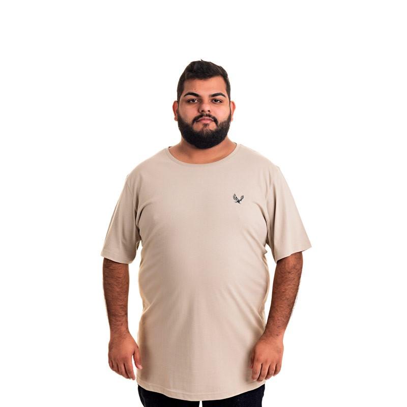 Camiseta Decoy Plus Size Masculino Básica Águia Bege