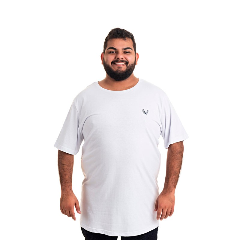 Camiseta Decoy Plus Size Masculino Básica Águia Branco