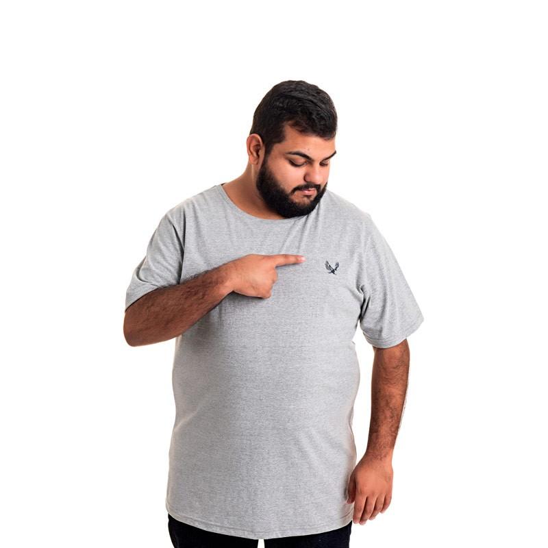 Camiseta Decoy Plus Size Masculino Básica Águia Cinza