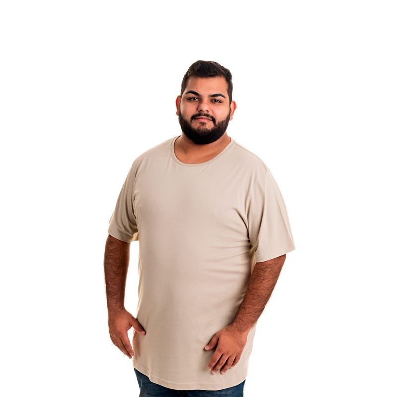 Camiseta Decoy Plus Size Masculino Básica Bege