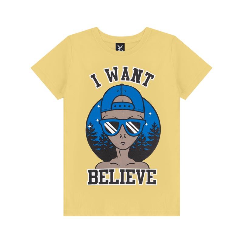 Camiseta Decoy Juvenil Masculino Believe Amarelo