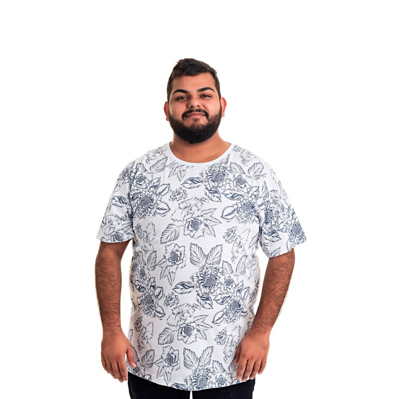 Camiseta Decoy Plus Size Masculino Estampada Azul