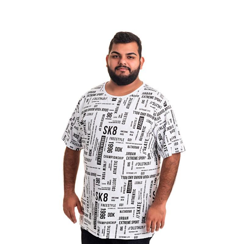 Camiseta Decoy Plus Size Masculino Estampada Branco