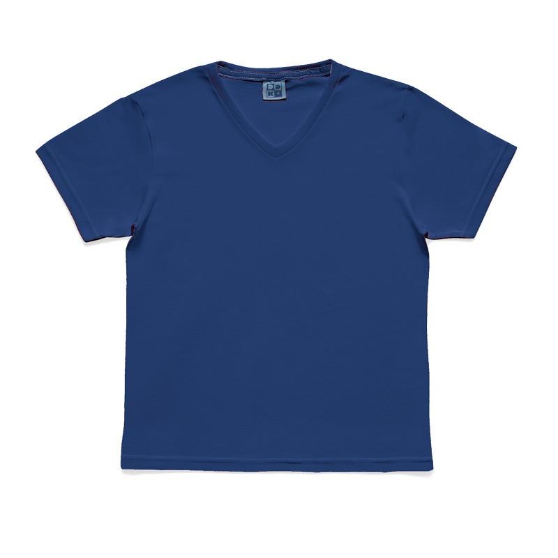 Camiseta DDK em Decote V Infantil Menino Básica Azul