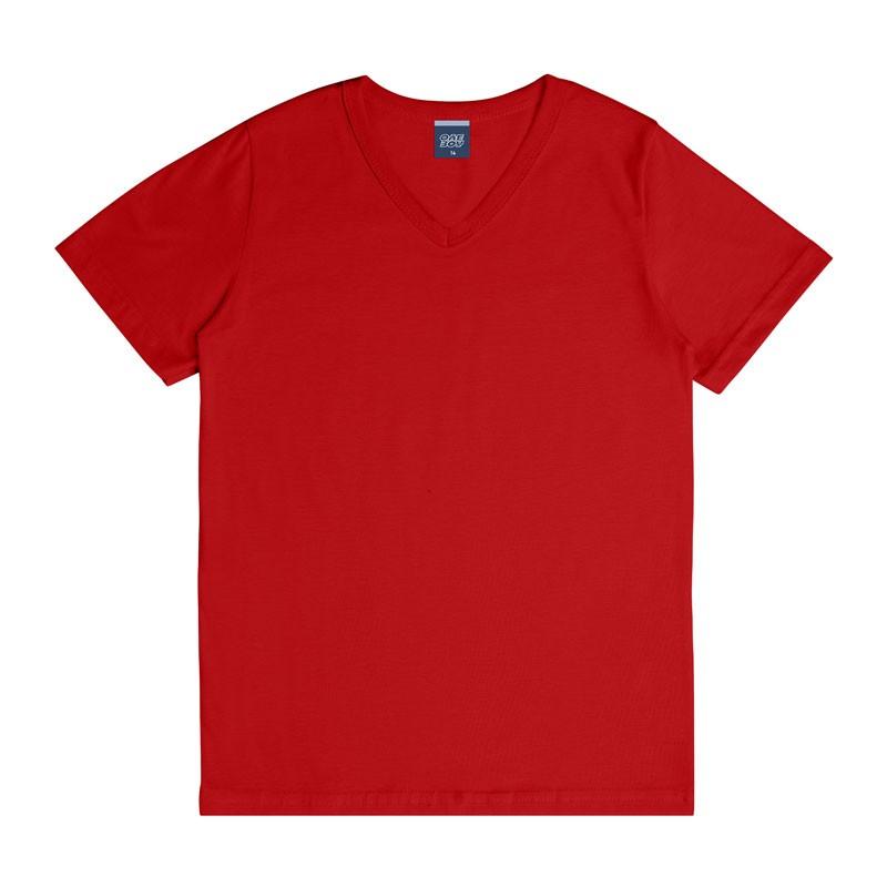 Camiseta DDK em Decote V Infantil Menino Básica Vermelho