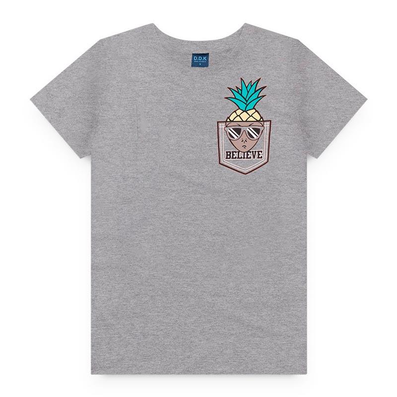 Camiseta DDK Infantil em Meia Malha Abacaxi Cinza