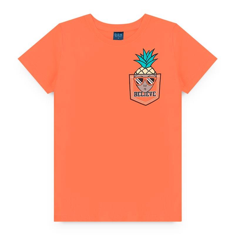 Camiseta DDK Infantil em Meia Malha Abacaxi Laranja