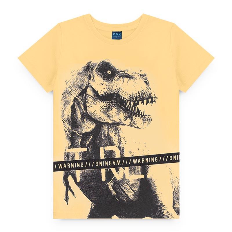 Camiseta DDK Infantil em Meia Malha Dinossauro Amarelo