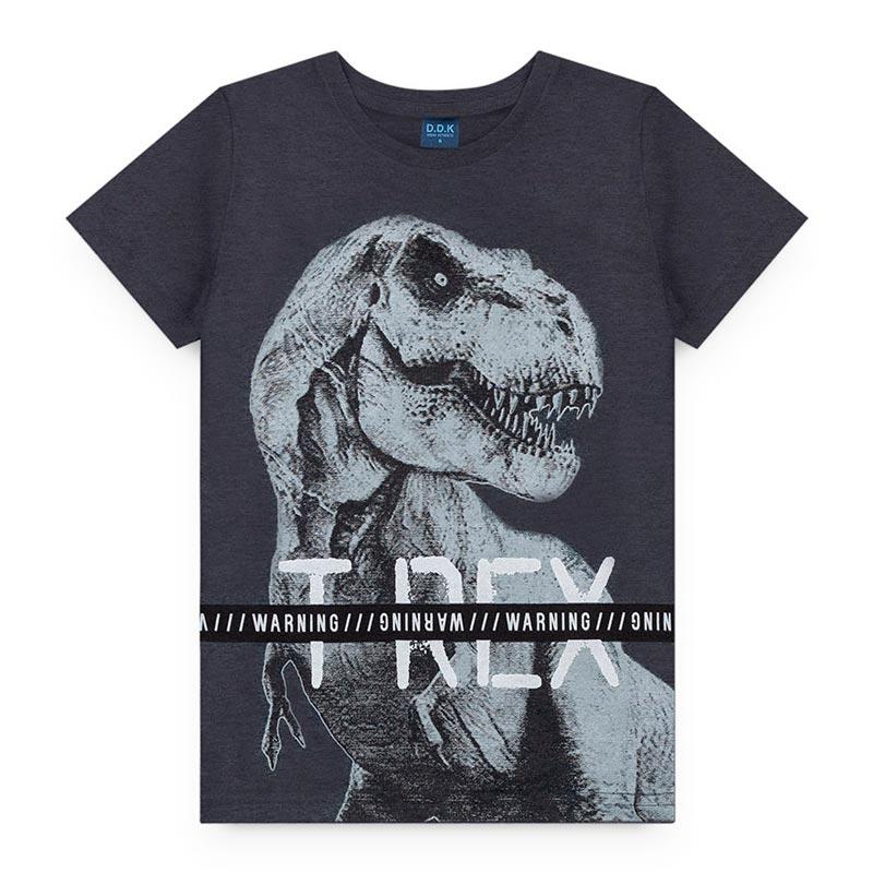 Camiseta DDK Infantil em Meia Malha Dinossauro Preto