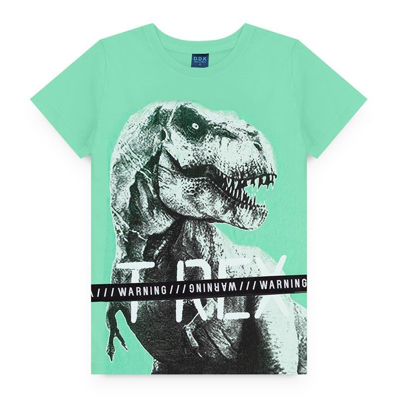 Camiseta DDK Infantil em Meia Malha Dinossauro Verde