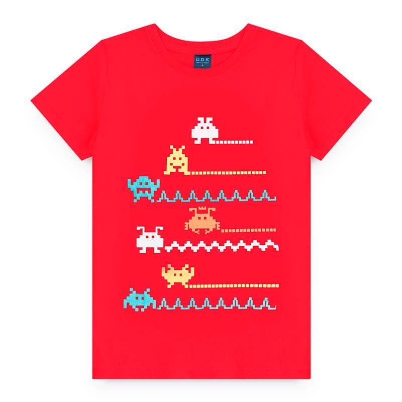 Camiseta Estampado  em Meia Malha Game Vermelha