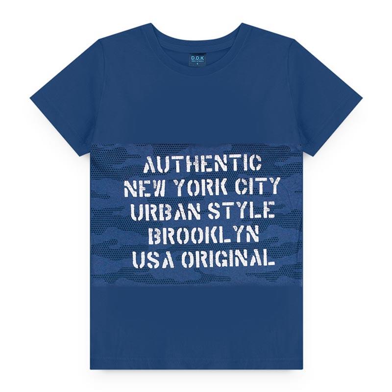 Camiseta DDK Infantil em Meia Malha Letras Azul