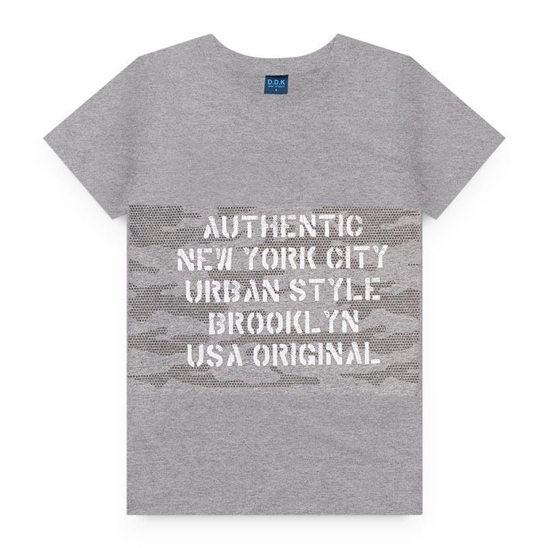 Camiseta DDK Infantil em Meia Malha Letras Cinza