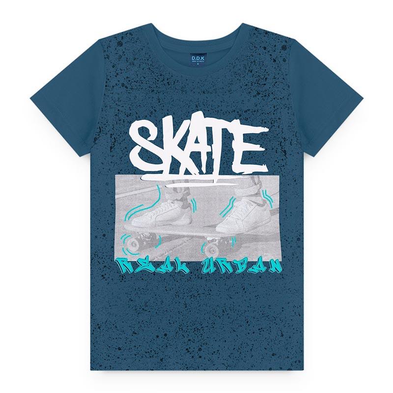 Camiseta Estampado em Meia Malha Skate Azul