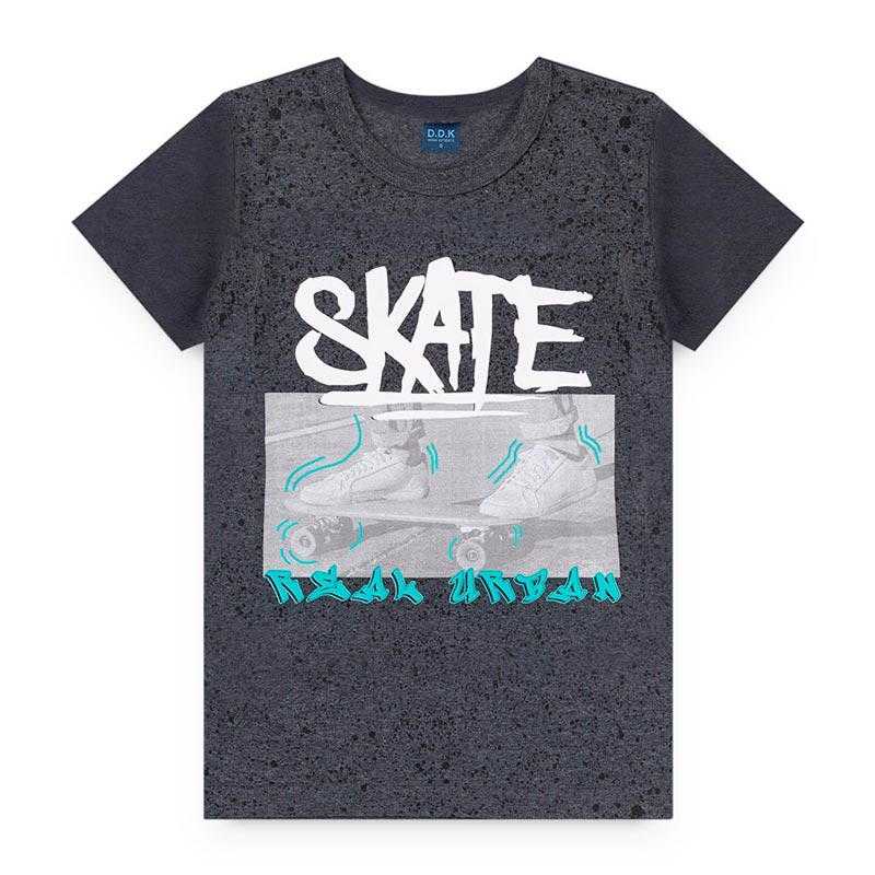Camiseta DDK Infantil em Meia Malha Skate Preto