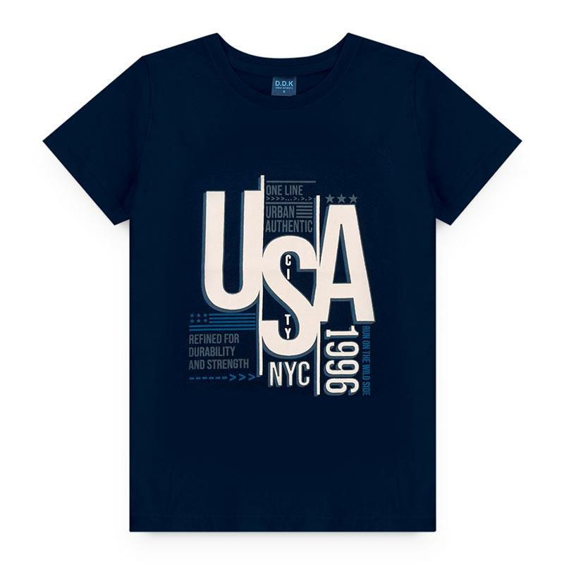 Camiseta DDK Infantil Estampado em Meia Malha USA Azul