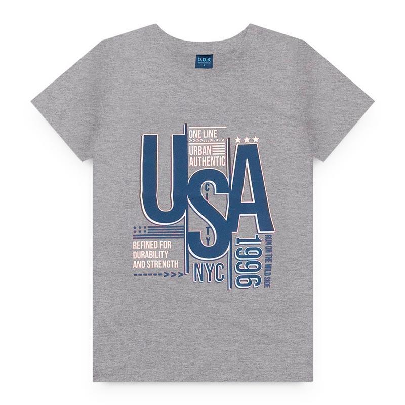 Camiseta Estampado em Meia Malha USA Cinza