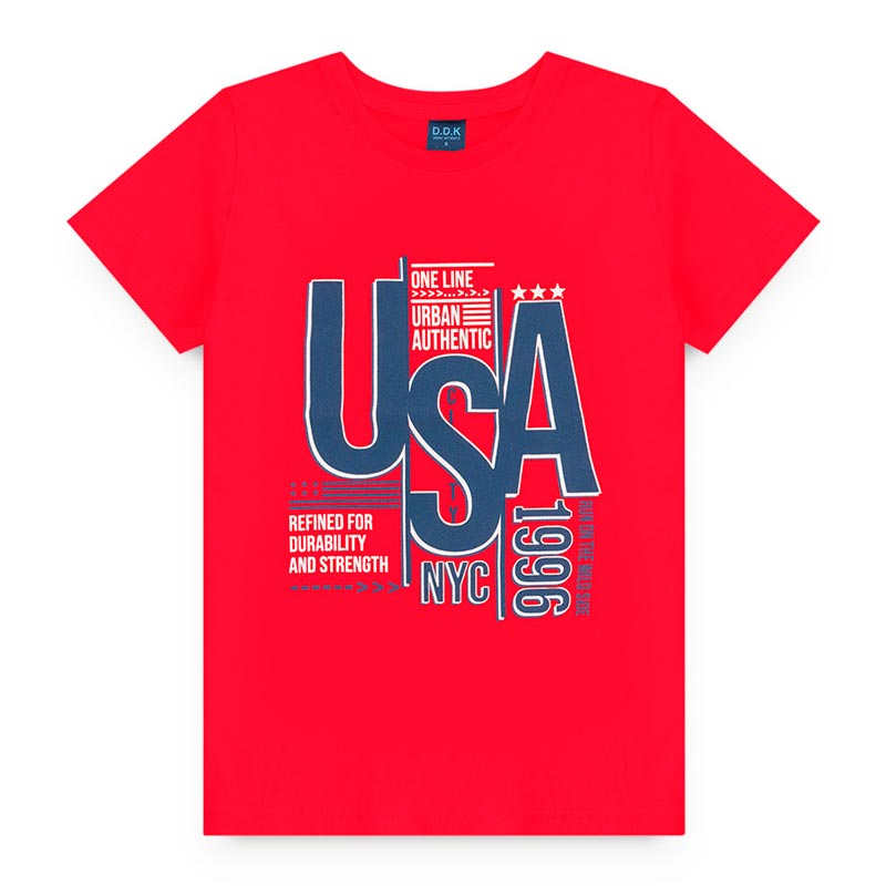 Camiseta DDK Infantil Estampado em Meia Malha USA Vermelho