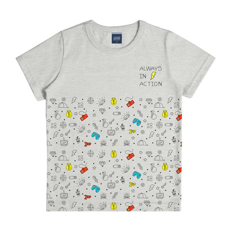 Camiseta Infantil Menino Always Cinza