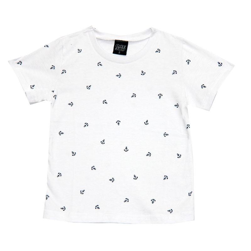 Camiseta Infantil Menino Âncoras Branco