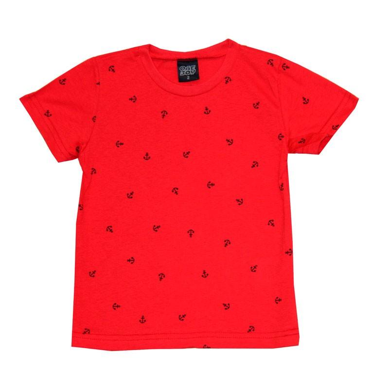 Camiseta Infantil Menino Âncoras Vermelho