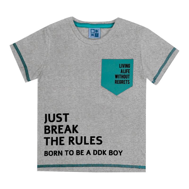 Camiseta Infantil Menino com Bolso Cinza