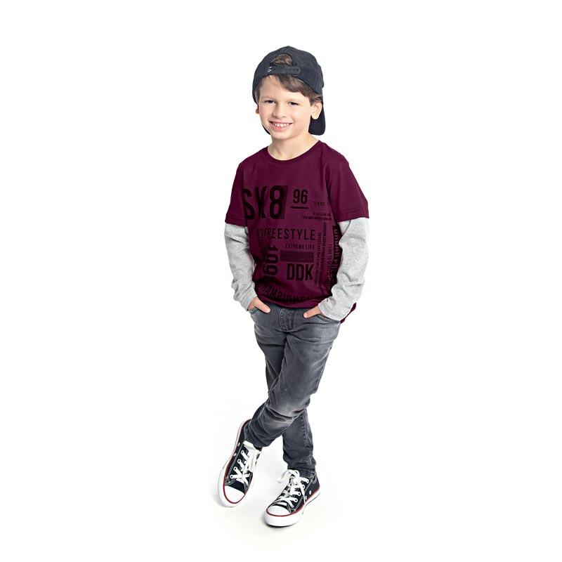 Camiseta Infantil Menino Escrita Bordo