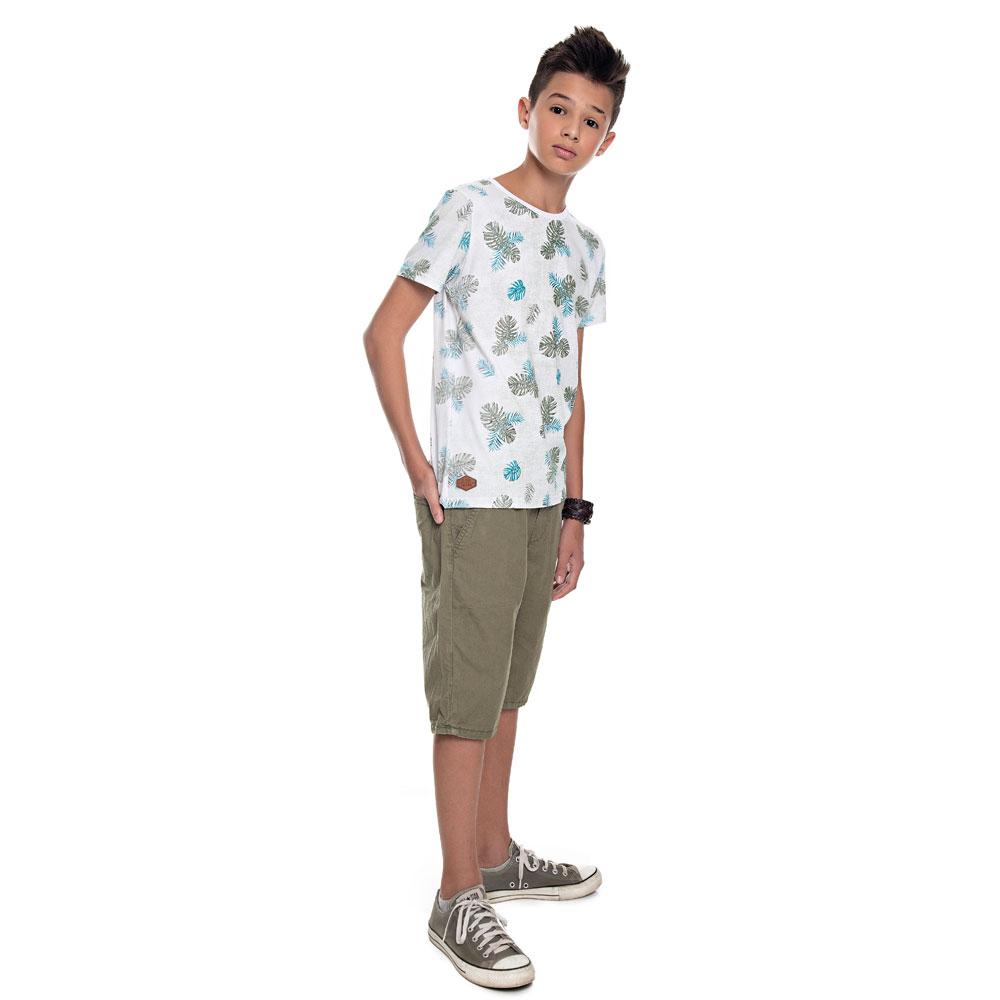 Camiseta Infantil Menino Folhas Branco