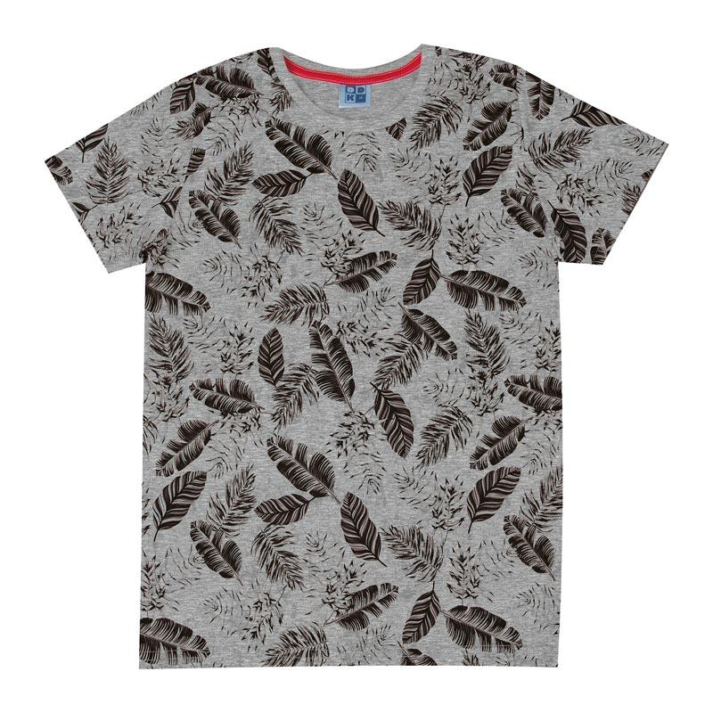 Camiseta Infantil Menino Folhas Cinza
