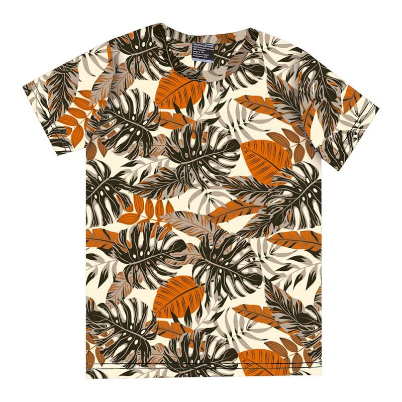 Camiseta Infantil Menino Folhas Laranja